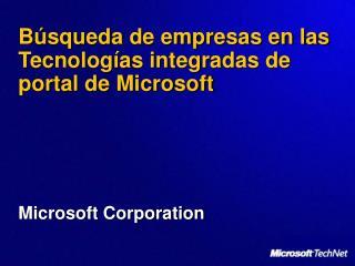 Búsqueda de empresas en las Tecnologías integradas de portal de Microsoft