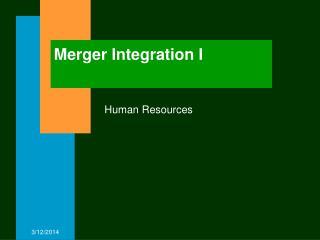 Merger Integration I