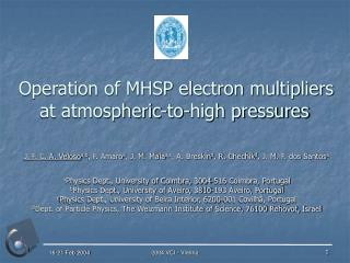 Operation of MHSP electron multipliers at atmospheric-to-high pressures