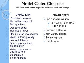"Model Cadet Checklist ""Graduate NHS and be eligible to enroll in a state level college."""