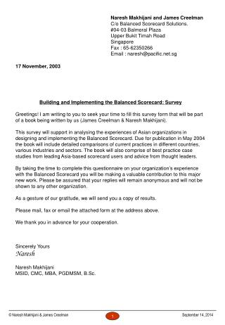 17 November, 2003 Building and Implementing the Balanced Scorecard: Survey