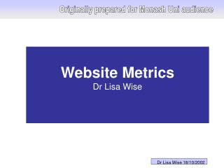 Website Metrics  Dr Lisa Wise