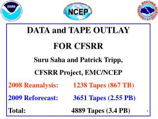 DATA and TAPE OUTLAY  FOR CFSRR Suru Saha and Patrick Tripp,  CFSRR Project, EMC