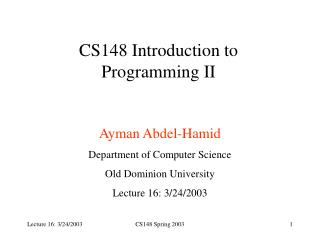 CS148 Introduction to Programming II
