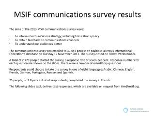 MSIF communications survey results
