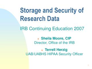 Storage and Security of Research Data