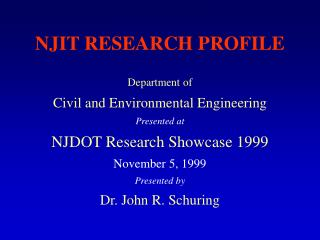 NJIT RESEARCH PROFILE