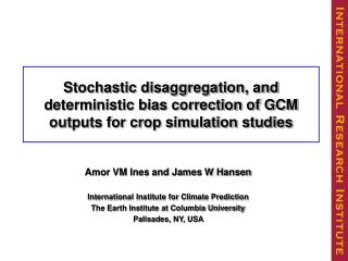 Stochastic Disagregation of Monthly Rainfall Data for Crop Simulation Studies