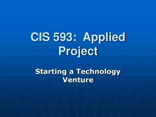 CIS 593:  Applied Project
