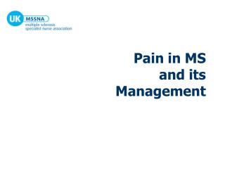 Pain in MS  and its Management