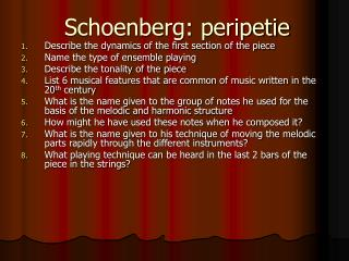 Schoenberg: peripetie
