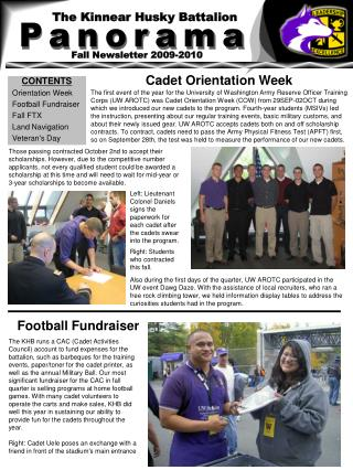 CONTENTS Orientation Week Football Fundraiser Fall FTX Land Navigation Veteran's Day
