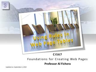 Using Rules in Web Page Tables