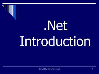 .Net Introduction