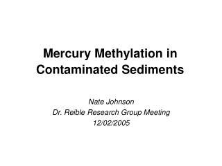 Mercury Methylation in Contaminated Sediments