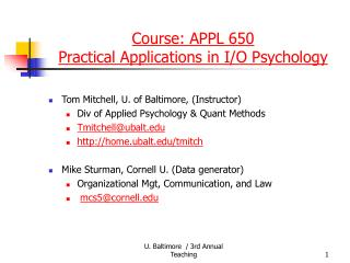 Course: APPL 650  Practical Applications in I/O Psychology