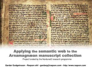 Applying  the  semantic web  to the Arnamagnæan manuscript collection