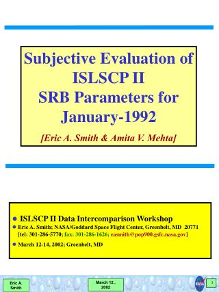 ISLSCP II Data Intercomparison Workshop