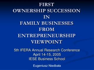 Family Businesses  Entrepreneurship