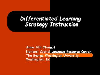 Differentiated Learning  Strategy Instruction