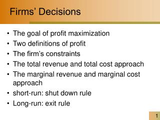 Firms' Decisions