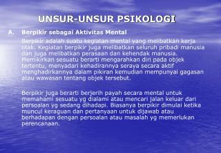 UNSUR-UNSUR PSIKOLOGI