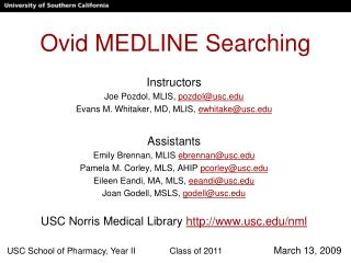 Ovid MEDLINE Searching