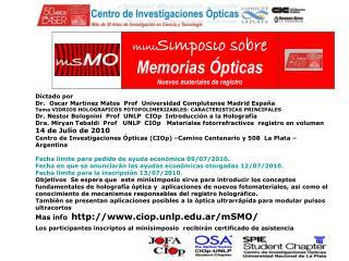 Dictado por  Dr.  Oscar Martinez Matos  Prof  Universidad Complutense Madrid Espaňa