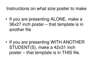 Instructions on what size poster to make