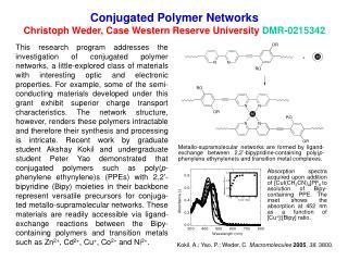 Conjugated Polymer Networks Christoph Weder, Case Western Reserve University DMR-0215342