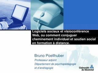 Bruno Poellhuber Professeur adjoint Département de psychopédagogie  et d'andragogie