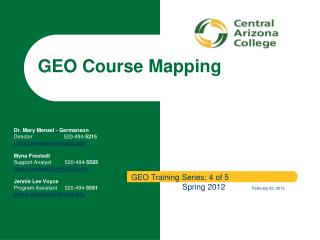 GEO Course Mapping