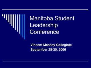Manitoba Student Leadership Conference