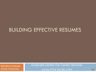 Building Effective Resumes