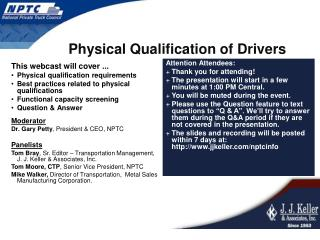 Physical Qualification of Drivers