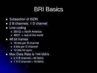 BRI Basics