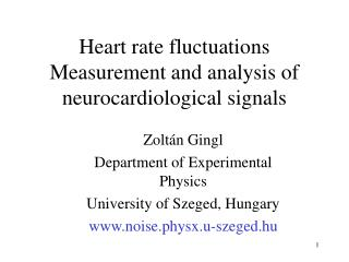 Heart rate fluctuations Measurement and analysis of neurocardiological signals