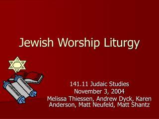 Jewish Worship Liturgy