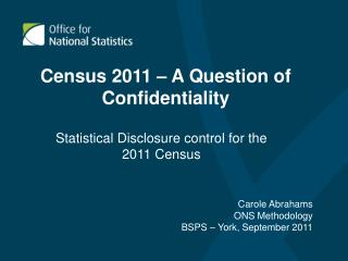 Census 2011 � A Question of Confidentiality