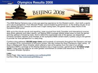 Olympics Results 2008