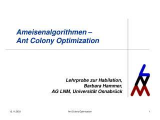 Ameisenalgorithmen – Ant Colony Optimization
