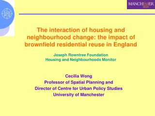 Cecilia Wong Professor of Spatial Planning and  Director of Centre for Urban Policy Studies