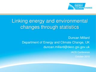 Linking energy and environmental changes through statistics
