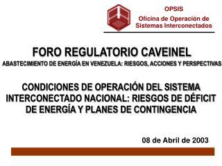 OPSIS Oficina de Operación de Sistemas Interconectados