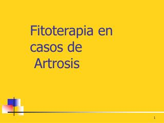 Fitoterapia en casos de   Artrosis