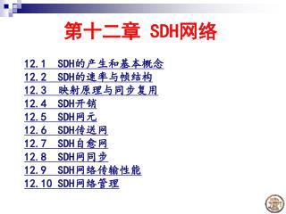 第十二章  SDH 网络