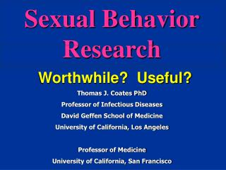 Sexual Behavior Research