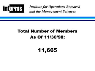 Total Number of Members As Of 11/30/98: 11,665