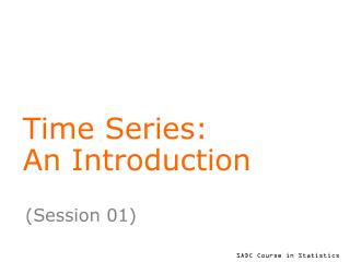 Time Series: An Introduction