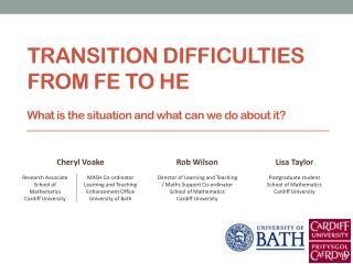 Transition difficulties from FE to HE  What is the situation and what can we do about it ?